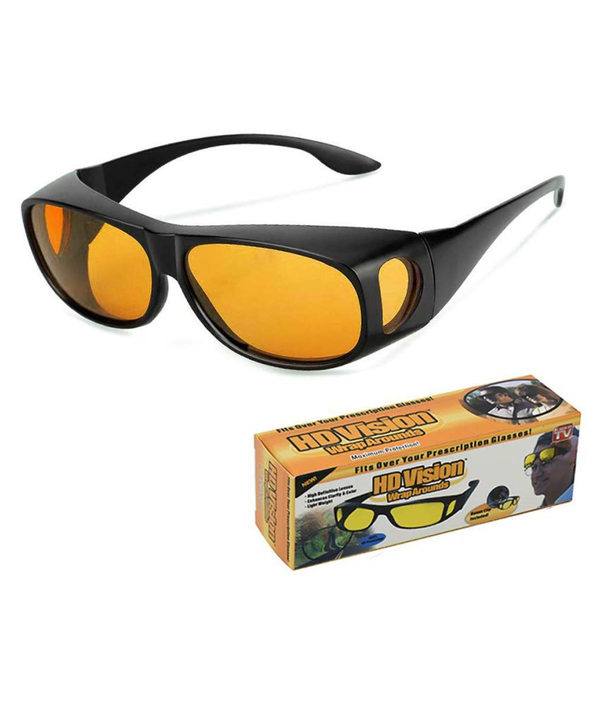 HD Wrap Around Eyewear Stylez Night Vision Glasses For Driving Car Or Bike Uv Protection Hydrophobic Coating (yellow)