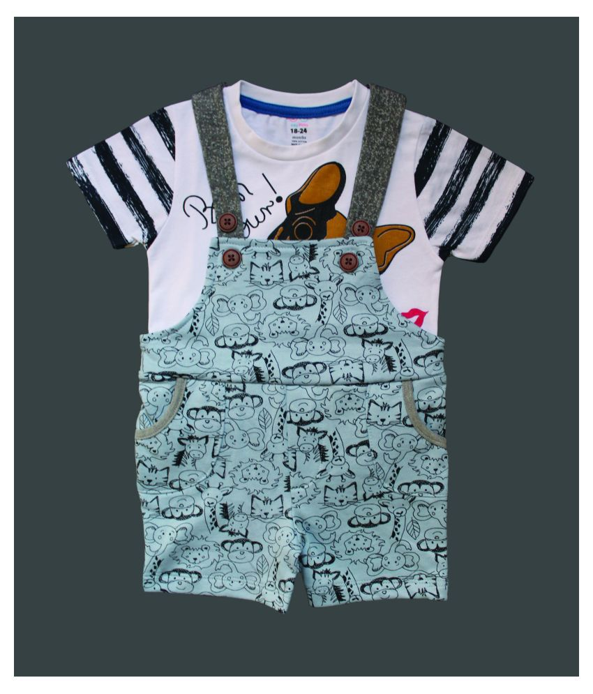 BABY BOY ALL OVER PRINTED DUNGAREES WITH TOP SET