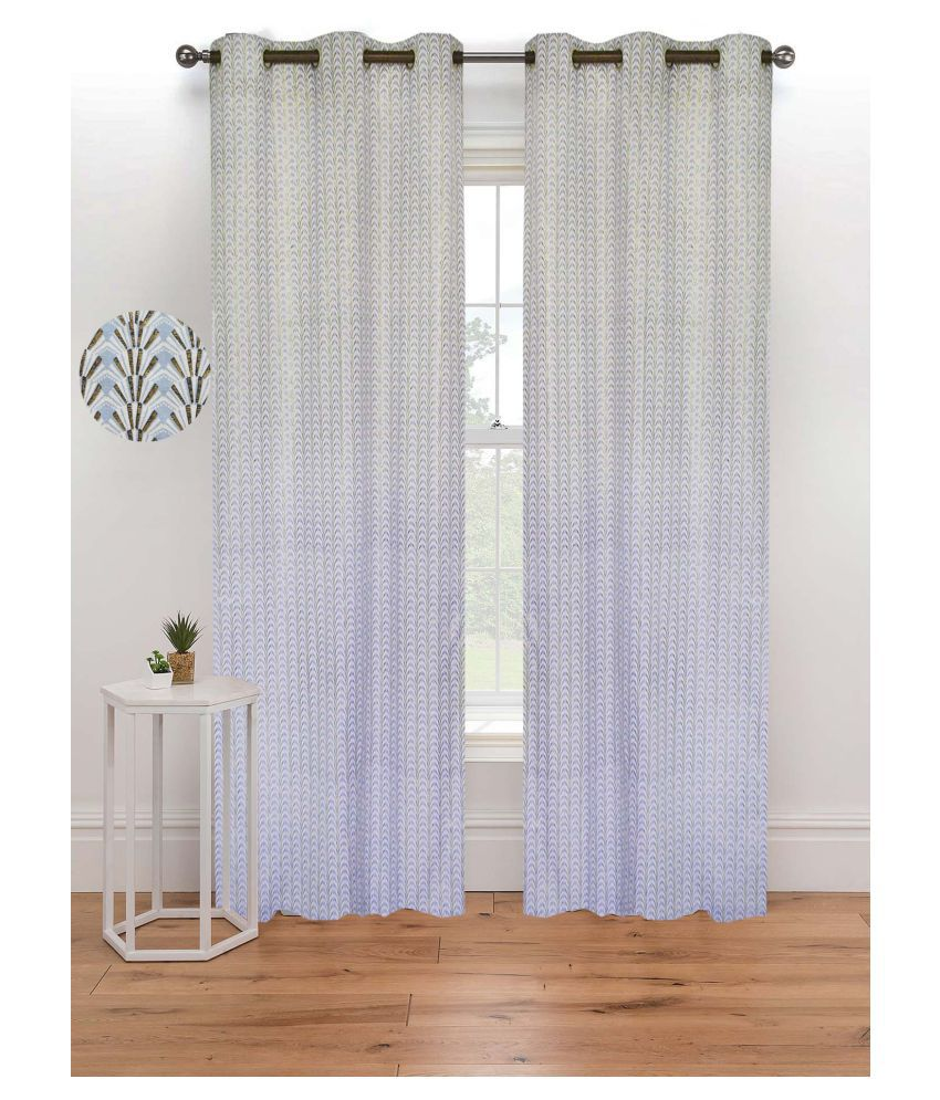 R home Single Door Eyelet Cotton Curtains Multi Color