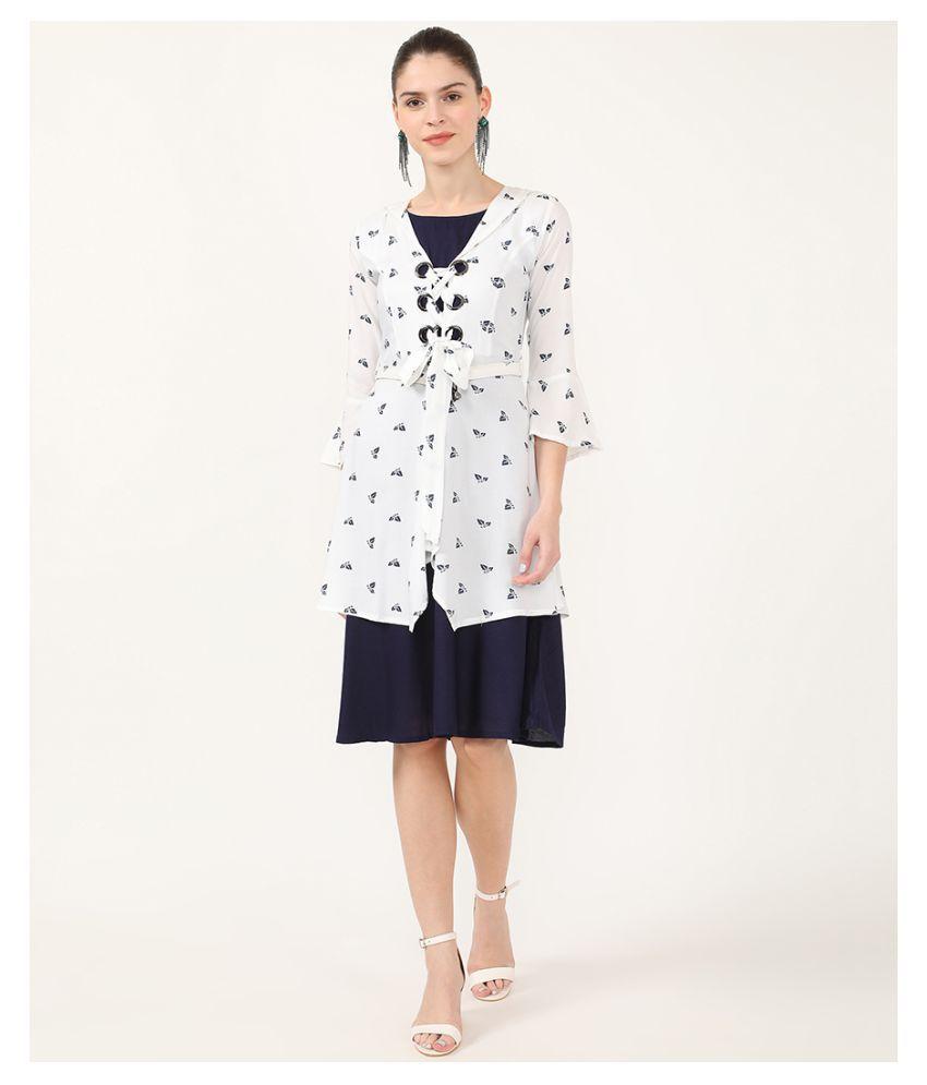 V2 Rayon White A- line Dress