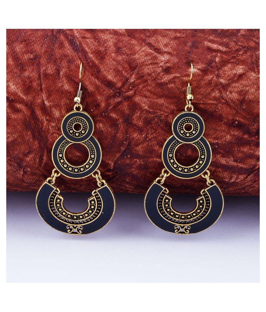 Golden Black Enamel Work Double Dangler Chandbali Earrings for Women
