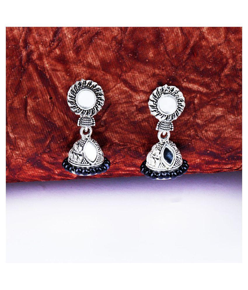 Pretty Black Mirror with Beads Jhumki Earrings