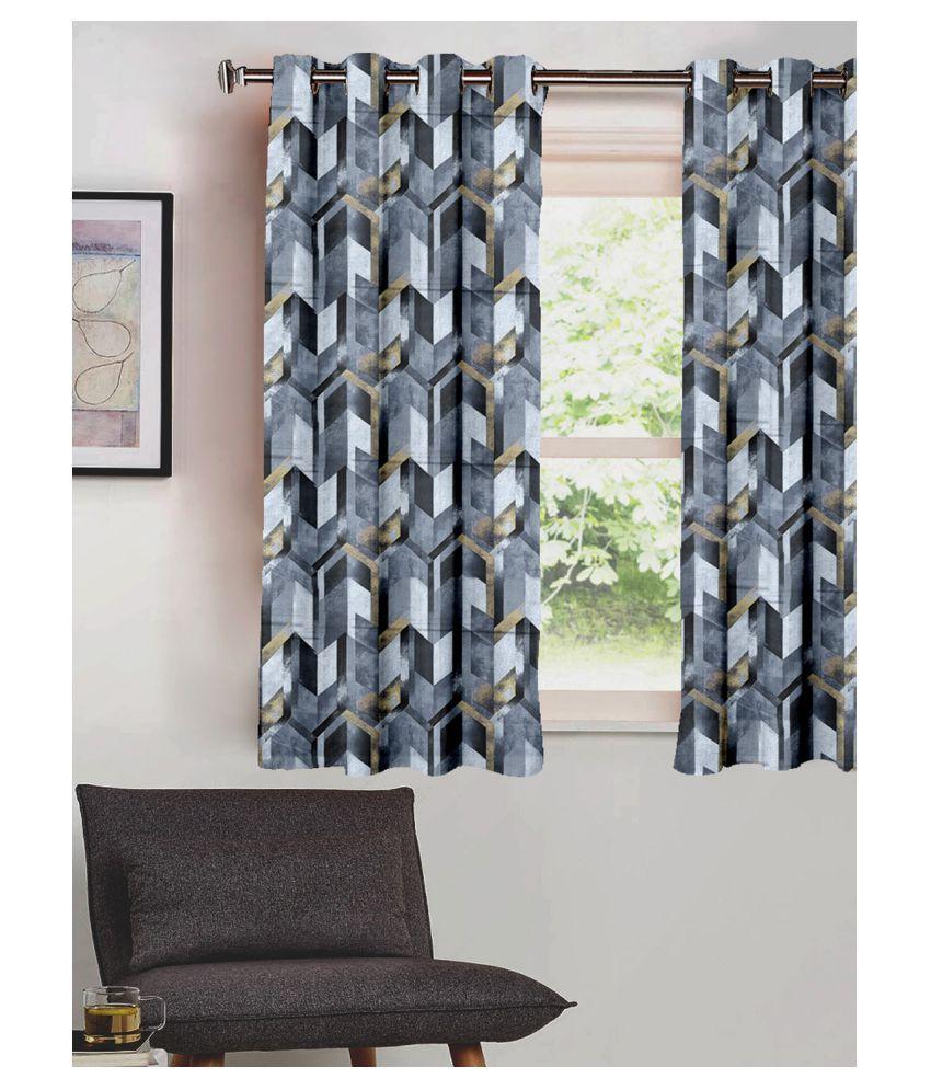 SHIVANAA HOMES Single Window Blackout Room Darkening Eyelet Polyester Curtains Grey