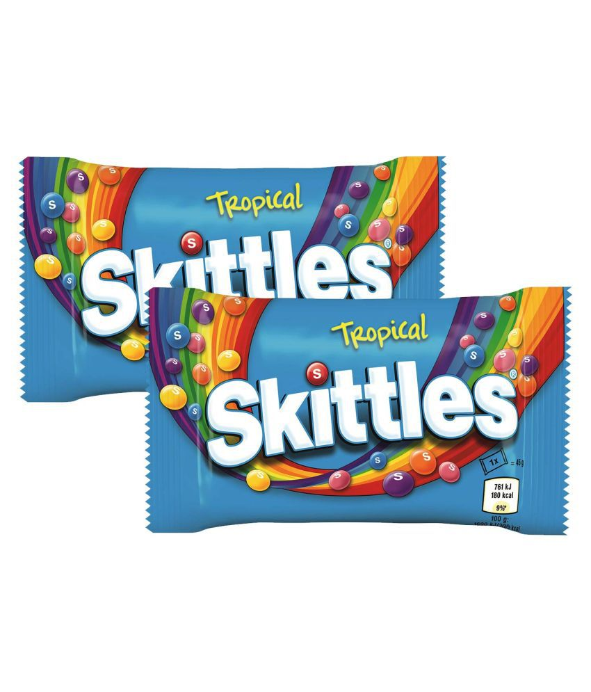 Skittles Tropical Flavour Popping Candies 45 gm Pack of 2