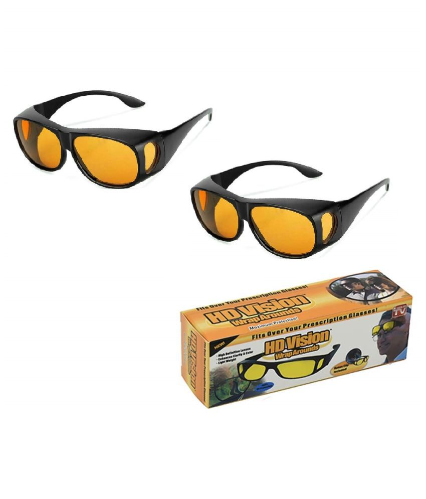 UV Protection Wrap Around Night Drive Men's and Women's Sunglasses (Yellow) pack of 2