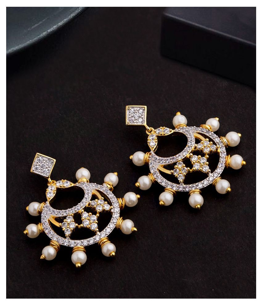 Voylla Faux Pearls and CZ Gems Adorned Earrings