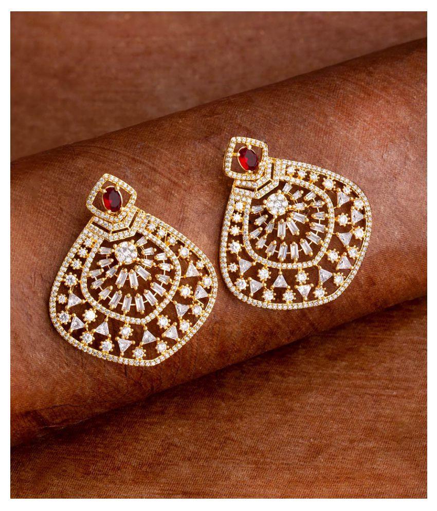 Voylla Zircon Gemstones Adorned Statement Earrings