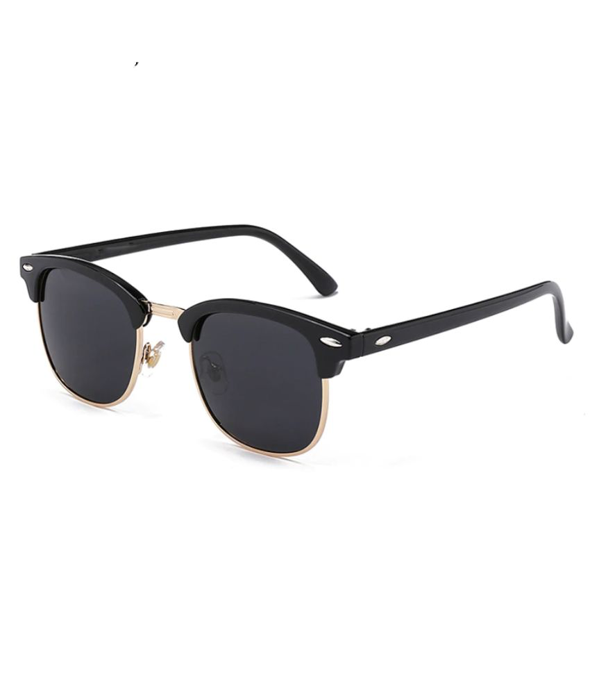 Awestuffs - Black Clubmaster Sunglasses ( Semi-Rimless Retro )