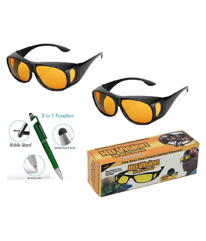 HD Wrap Around Yellow Lens Black Frame Night Vision Driving Sunglasses for Men and Women (yellow ) Set of 2 With Free 3 in 1 Wipe Pen