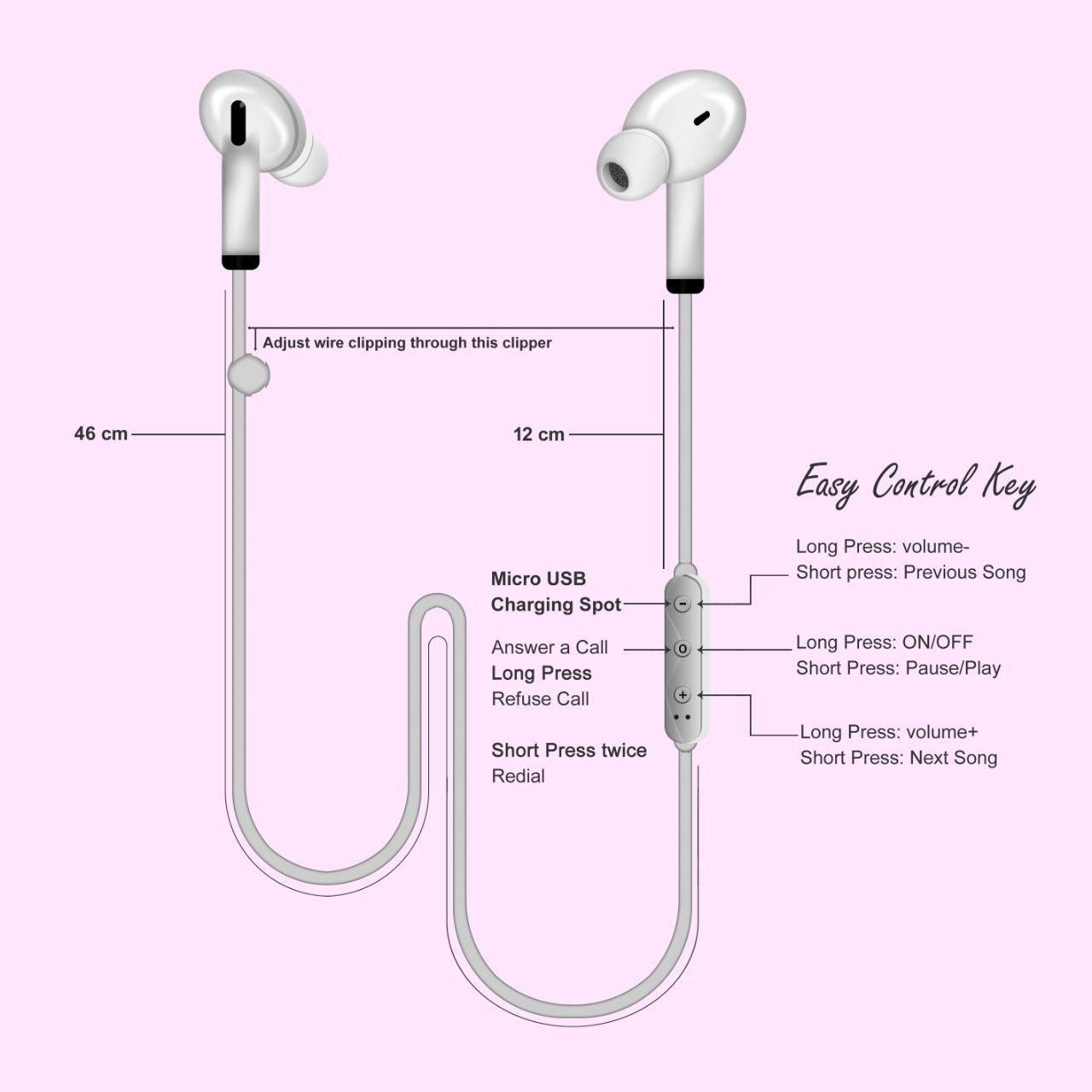 MAGNATIC BLUETOOTH Ear Buds Wireless Earphones/headphone With Mic Single Unit   Multi Color