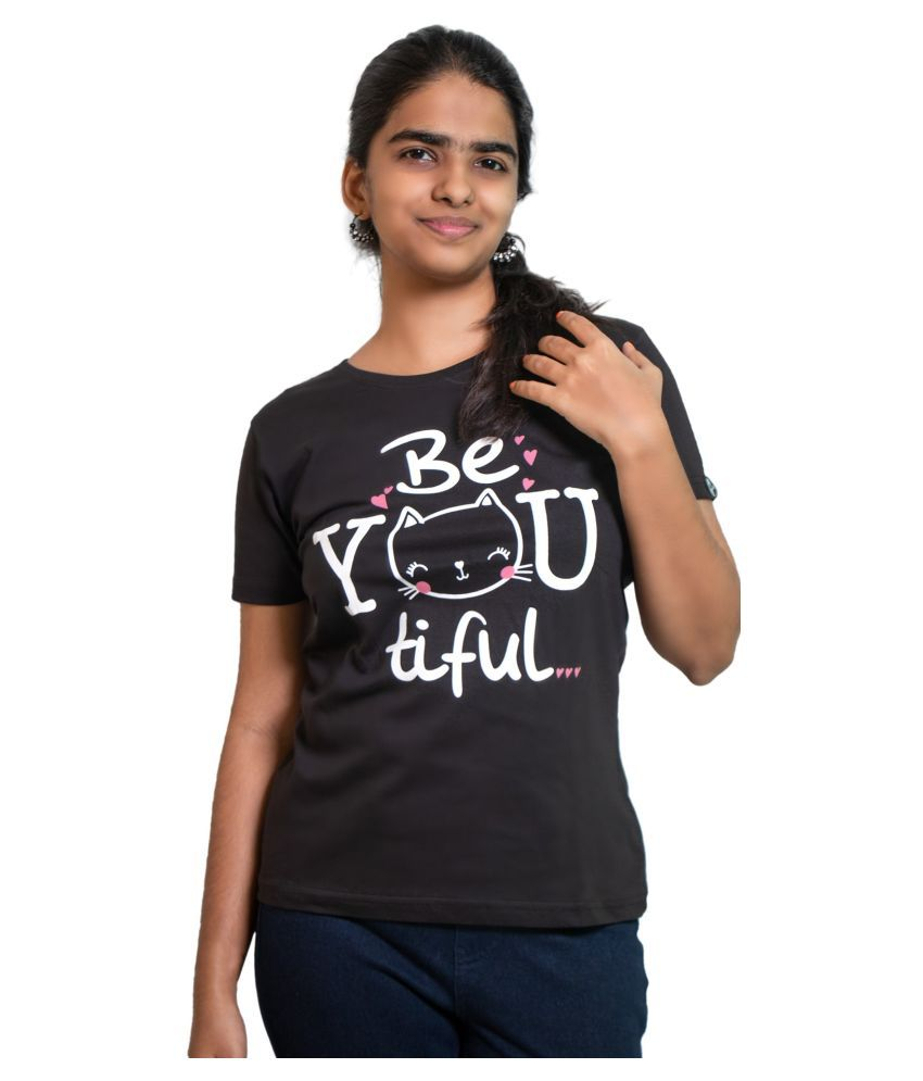 WON NOW Cotton Black T-Shirts