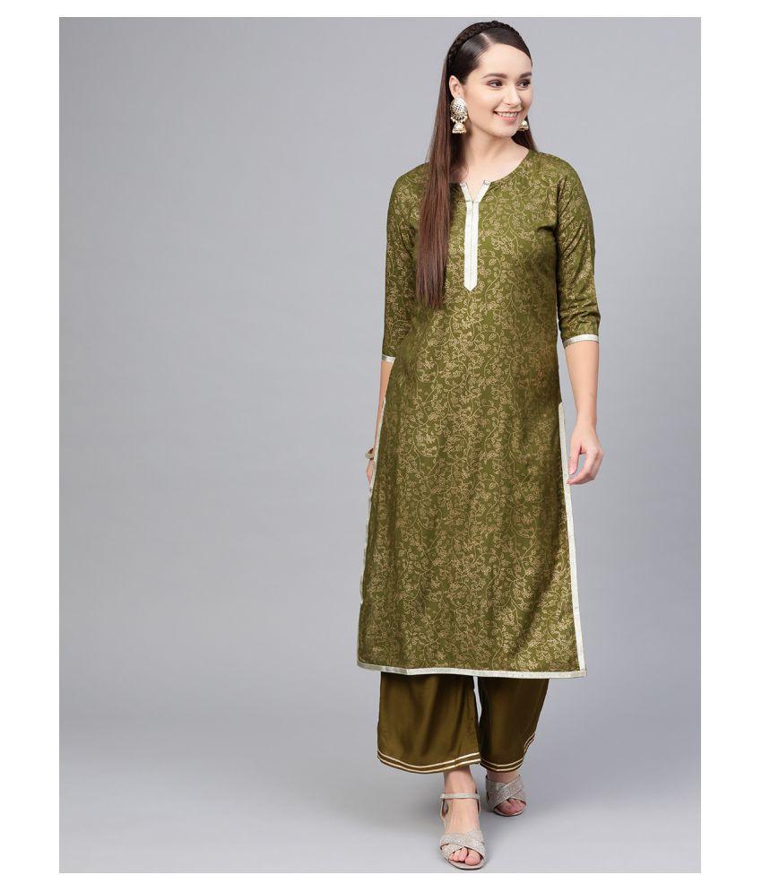 myshka Green Cotton Straight Kurti
