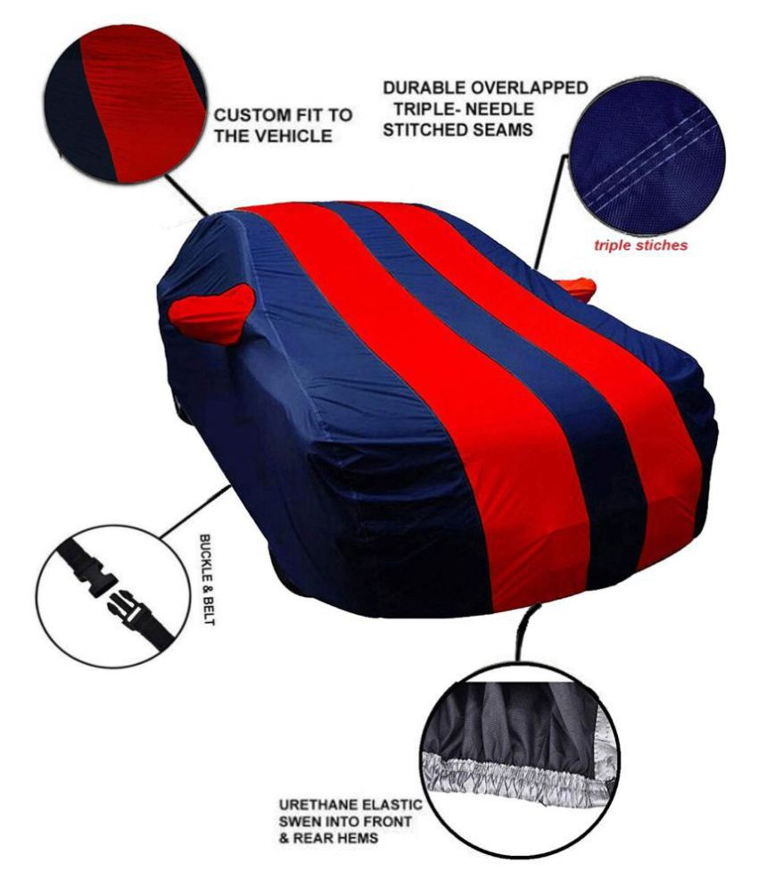 Soami Dust Proof Car Body Cover for Toyota Innova with Mirror Pockets Triple Stitching & Light Weight (Navy Blue & RED Color) Model 2018-19