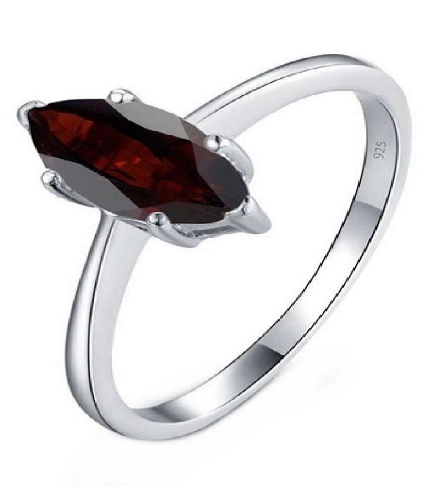 KUNDLI GEMS - Original & Certified stone Gomed Ring 7.5 Ratti Precious & Astrological Stone Sterling Silver Ring .