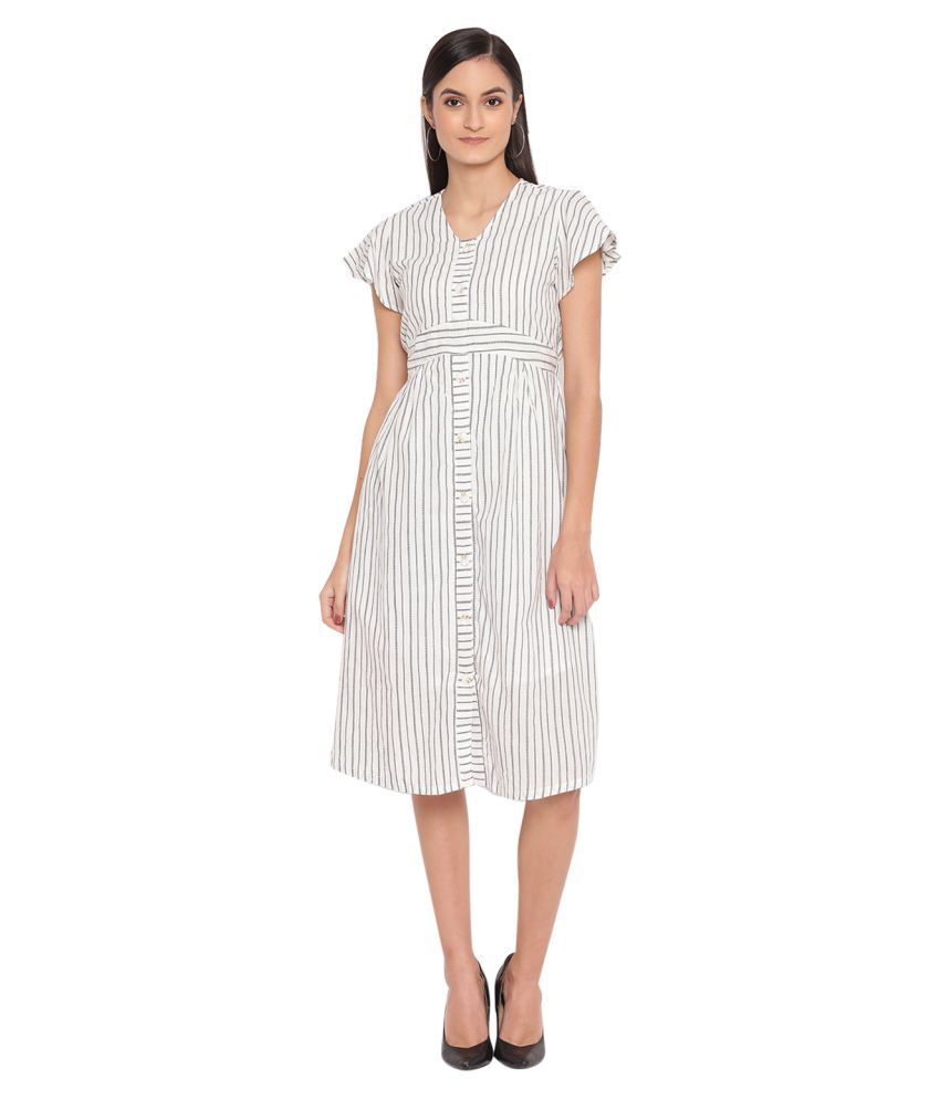 Trendy Divva Cotton White Shift Dress