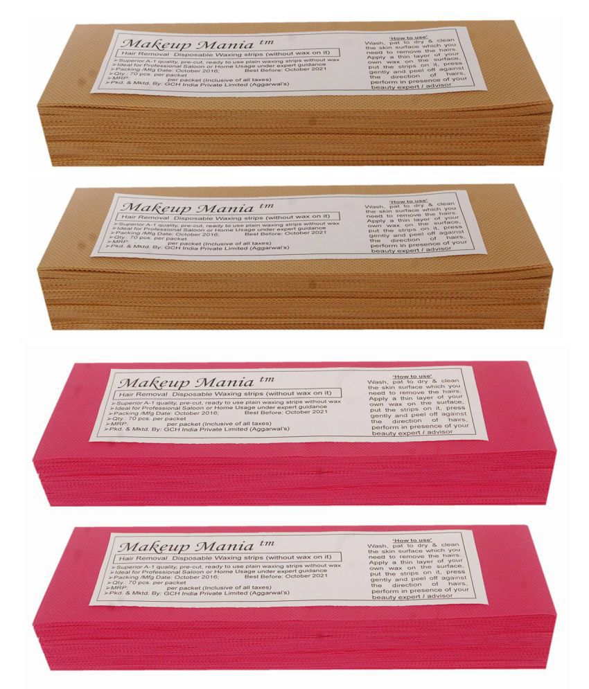 Makeup Mania Hair Removal Waxing Strips 280 Strips (4 Pkts x 70) Non-Woven Body Wax Strips (Beige-Red)