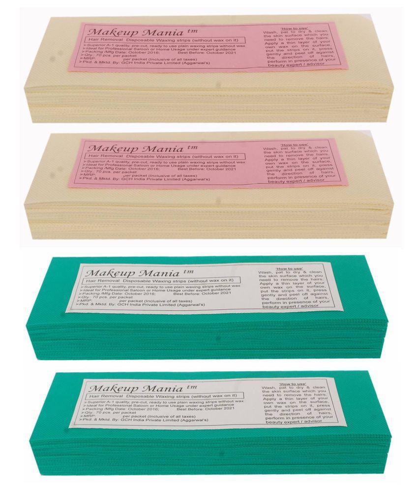 Makeup Mania Hair Removal Waxing Strips 280 Strips (4 Pkts x 70) Non-Woven Body Wax Strips (Ivory-Green)