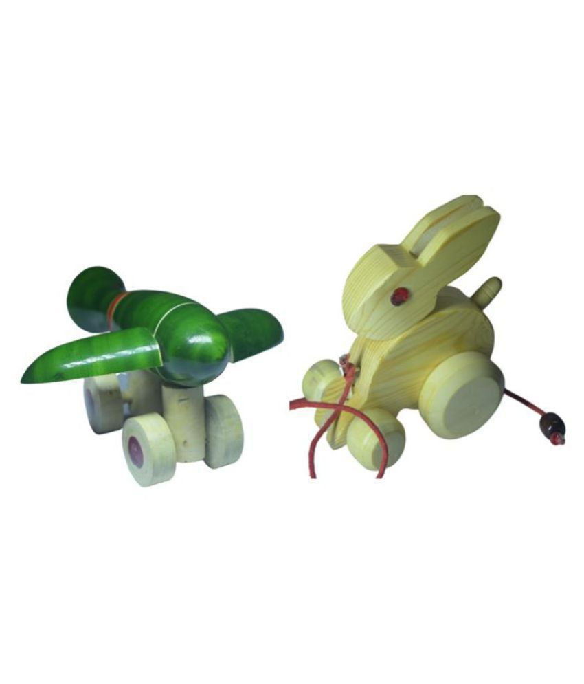 Wooden Rabit and Airplane - Animal and Vehicle pull along Vehicle set for kids - Pack of 2