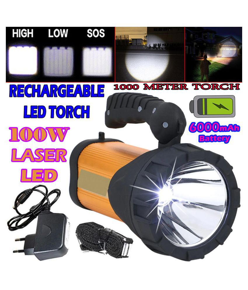 SM 3 Mode High Power 75w Rechargeable Waterproof 1000M Torchlight Above 50W Flashlight Torch Emergency Lights - Pack of 1