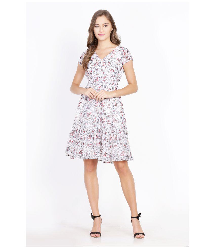 scensteller Poly Georgette White A- line Dress