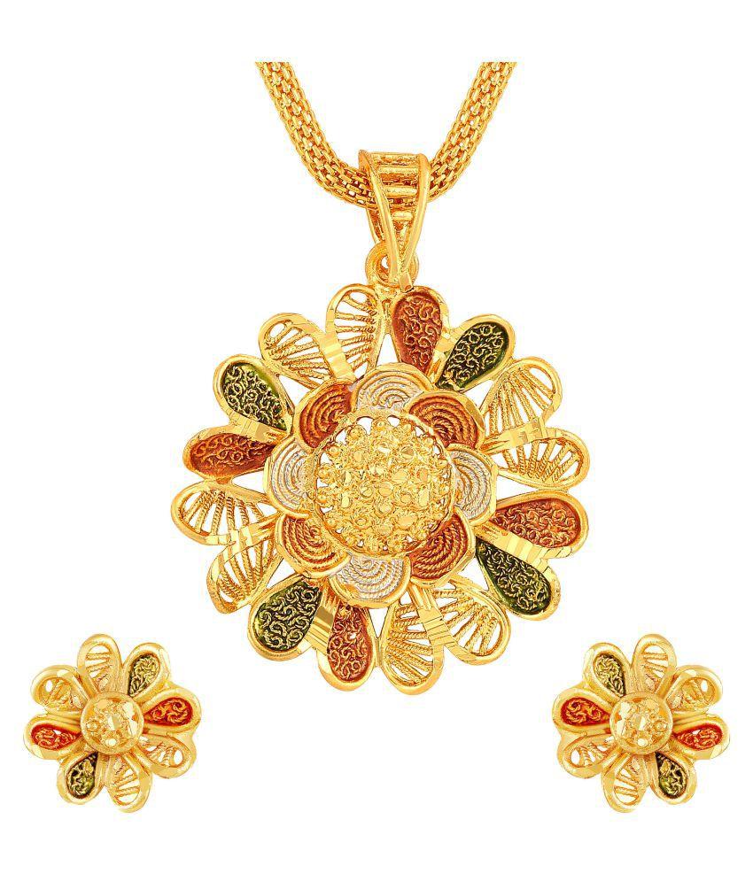 Asmitta Floral design Gold tone Meenakari Pendant Set for Women and Girls