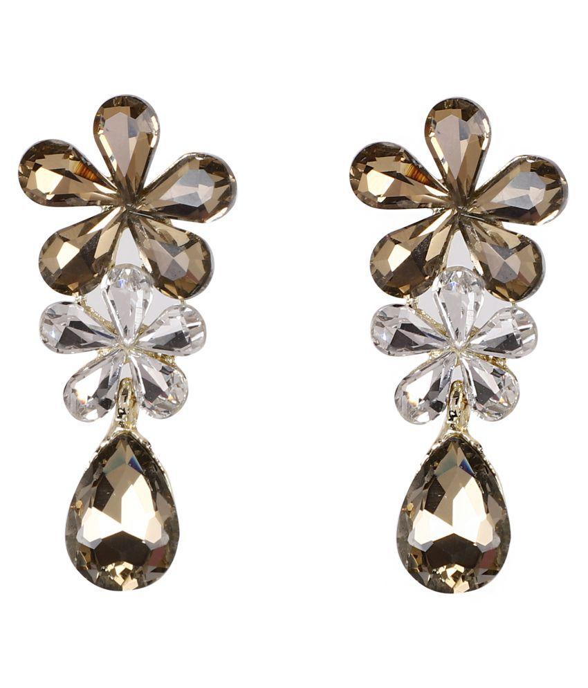 Jaishree Jewels Fashion Wear Golden Glass Earings for Women and Girls