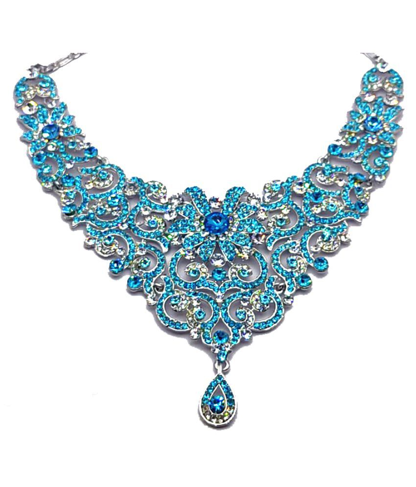 angel collection 20 German Silver Blue Choker Designer Silver Plated Necklaces Set