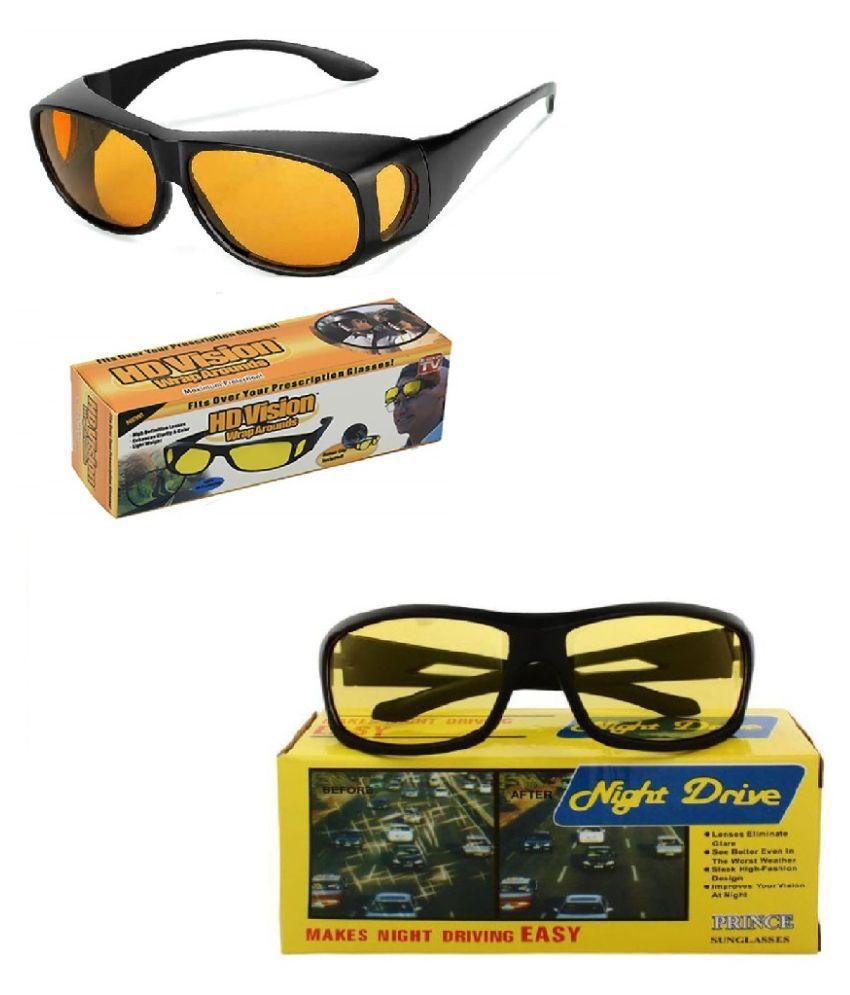 HD Wrap Around Eyewear Stylez & Night Vision Glasses For Driving Car Or Bike Uv Protection Hydrophobic Coating (yellow)  2Pcs