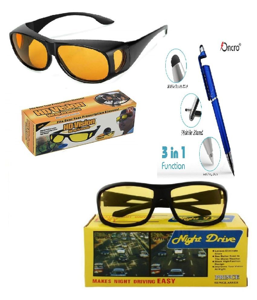 HD Wrap Around Eyewear Stylez & Night Vision Glasses For Driving Car Or Bike Uv Protection Hydrophobic Coating (yellow) With 3 in 1 pen Set Of 2