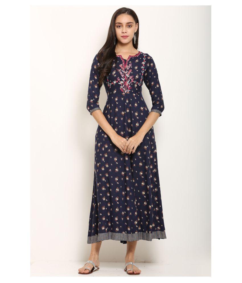 I Wisher Rayon Blue A- line Dress