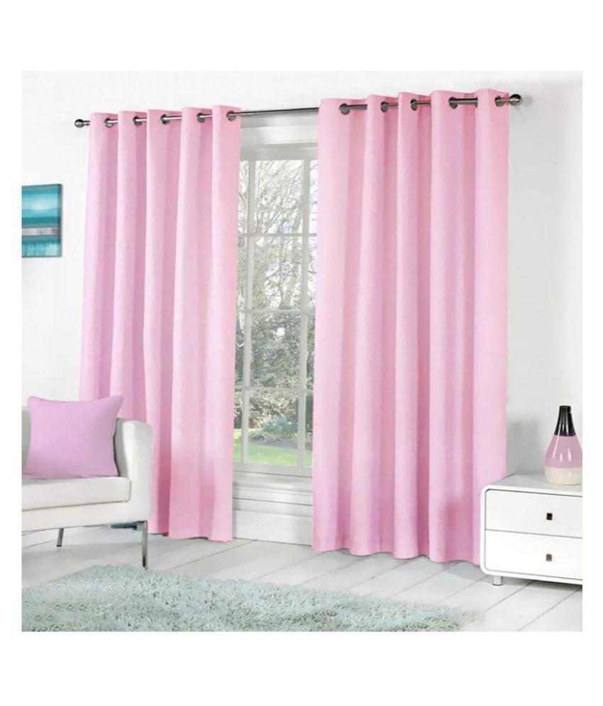 BM Creation Set of 2 Window Blackout Room Darkening Eyelet Polyester Curtains Light Pink