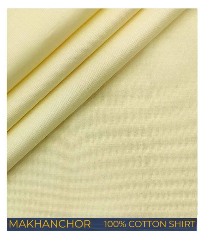 Makhanchor Yellow 100 Percent Cotton Unstitched Shirt pc Single