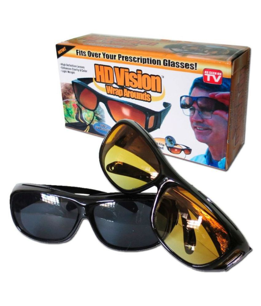 UV Protection Wrap Around & Night Drive Men's and Women's Sunglasses (yellow & Black)  Set Of 2