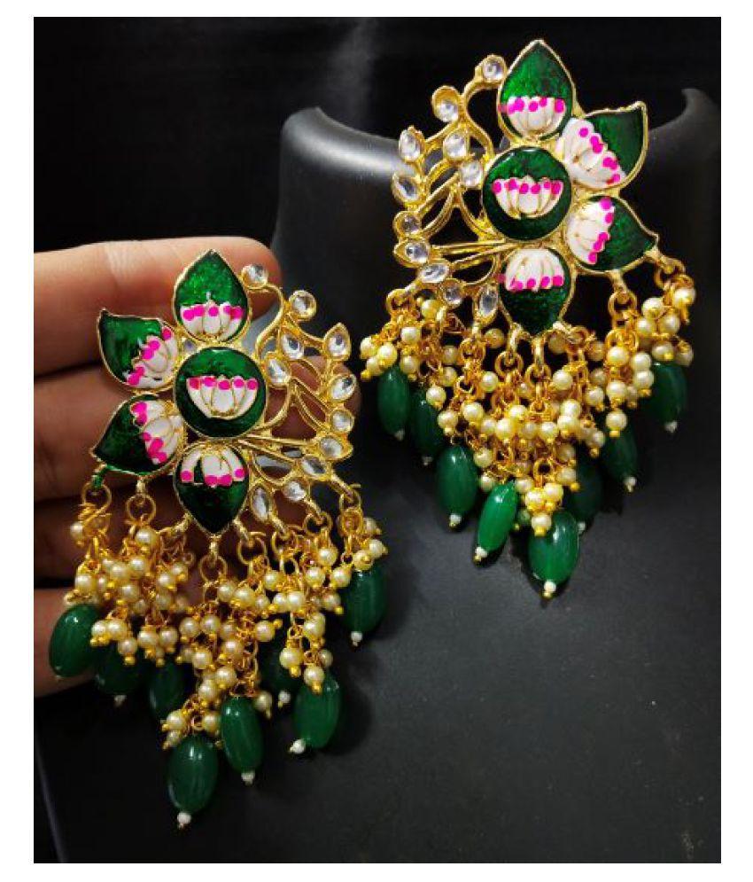 Designer Green Pink Meenakari  Laheriya  Pearl Kundan Earrings Set