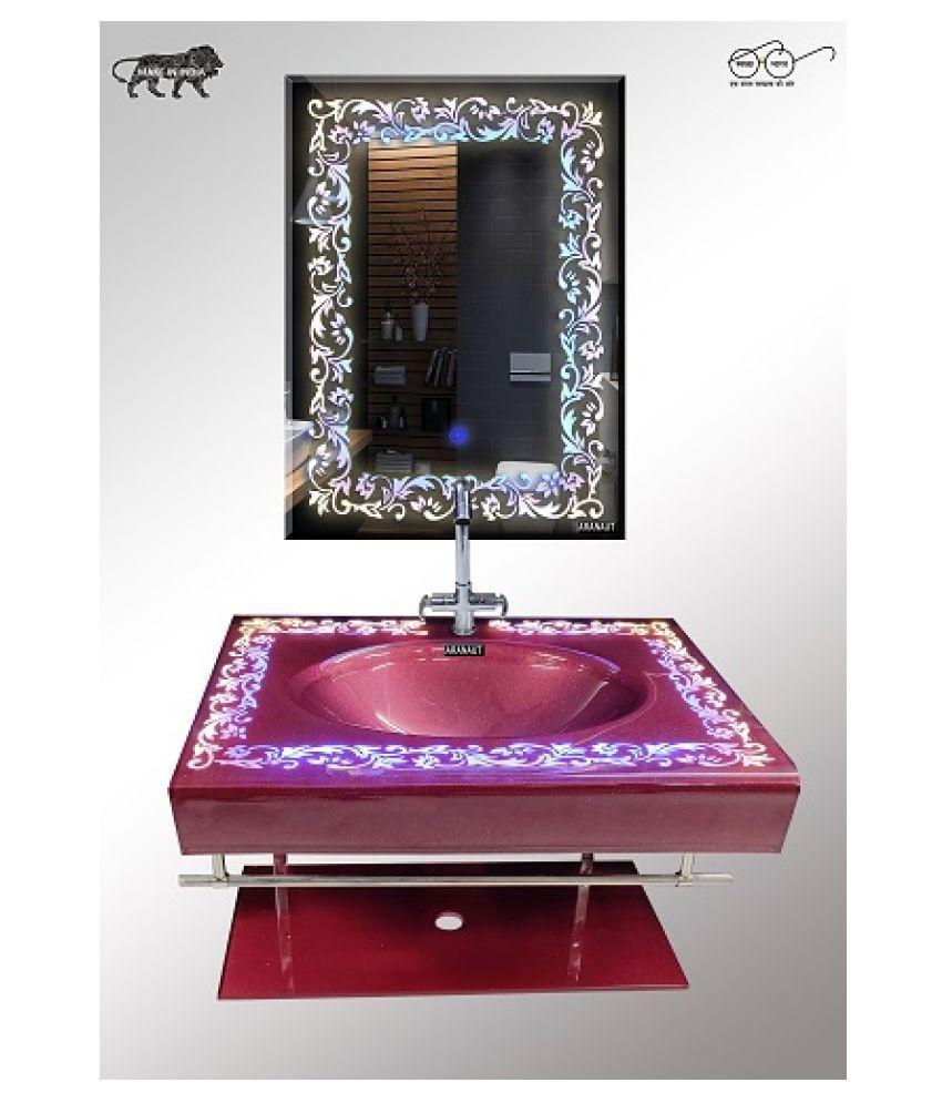 HIMANS Multi-Colour Toughened Glass Wall Hung Wash Basins