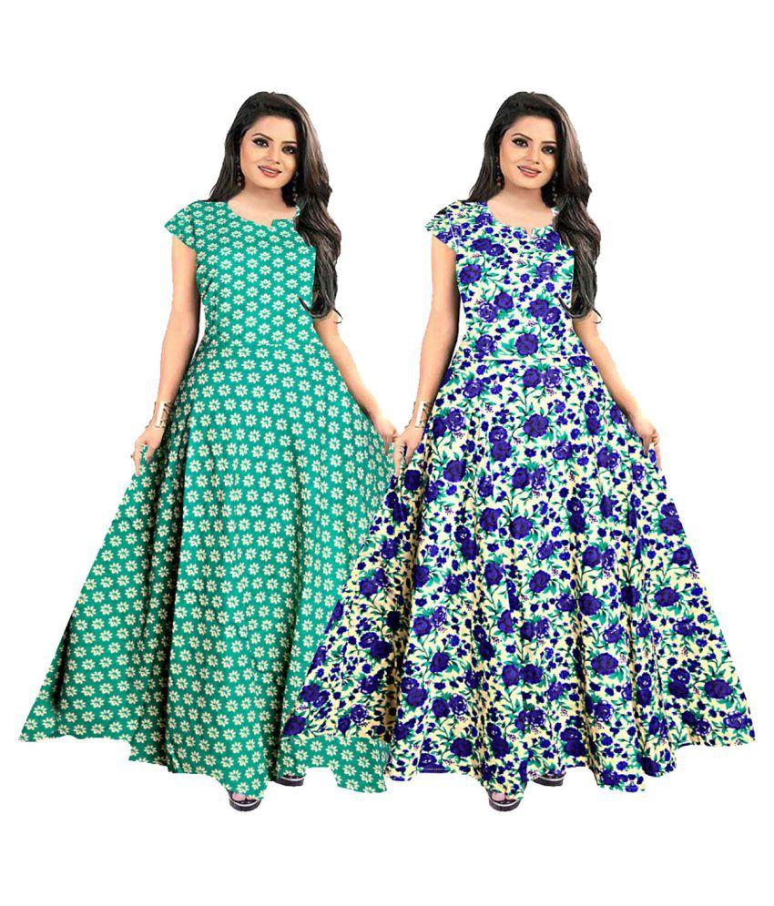 Silver Organisation Cotton Multi Color A- line Dress