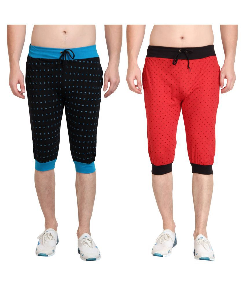 Diaz Multi Cotton Fitness Shorts Pack of 2