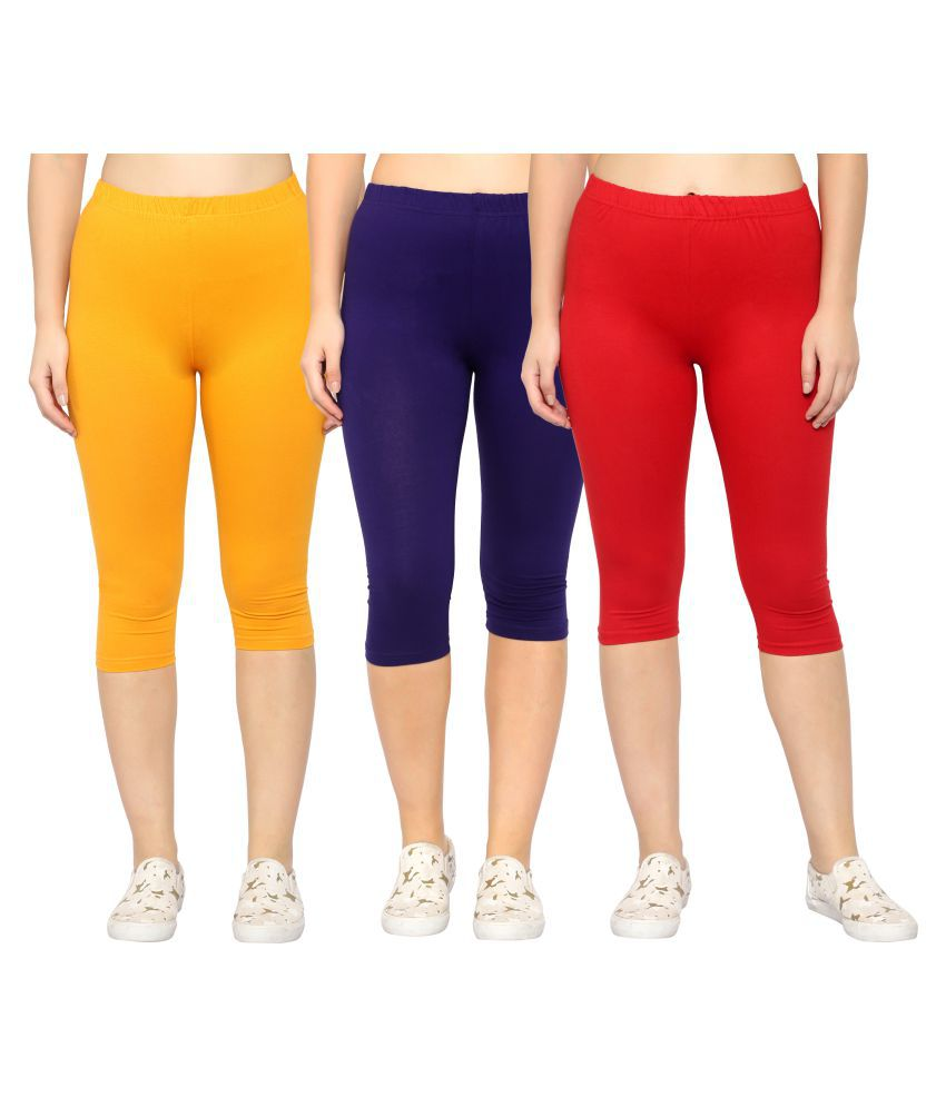 Myo Multi Color Cotton Lycra Solid Capri