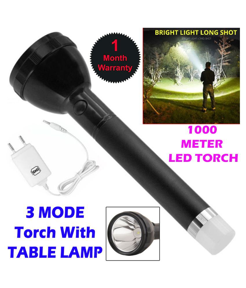 SE 2in1 1000 Meter 3Mode Long  Bim Rechargeable LED Torch 50W Flashlight Torch Long Beam  Torch - Pack of 1
