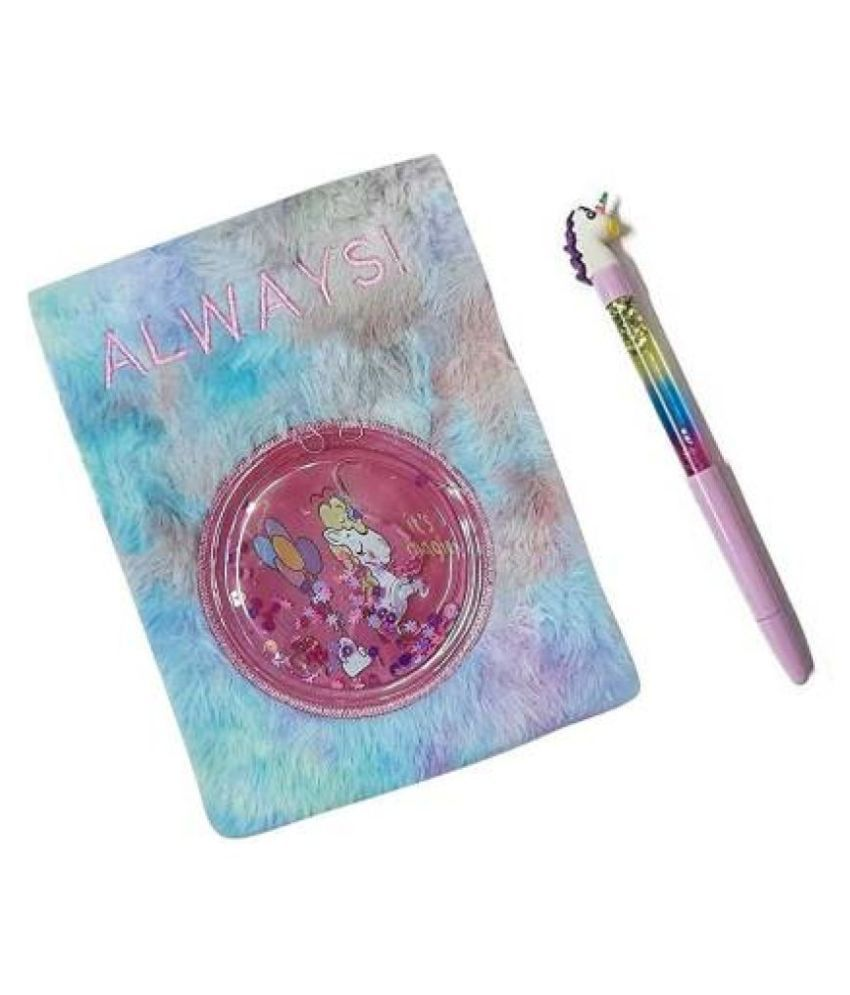 FATFISH Beautiful Fur& Water Unicorn Diary with Pen for Kids/Girls/Boys for Birthday Return Gift
