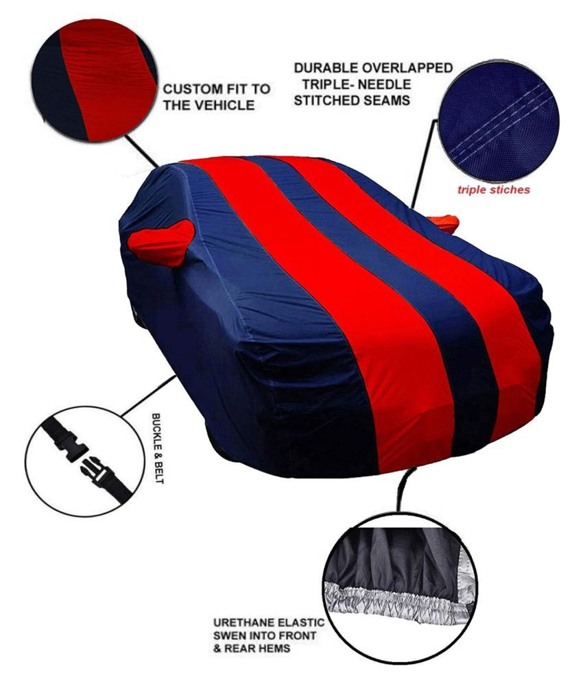 Soami Dust Proof Car Body Cover for Ford Aspire with Mirror Pockets Triple Stitching & Light Weight (Navy Blue & RED Color) Model 2015-16
