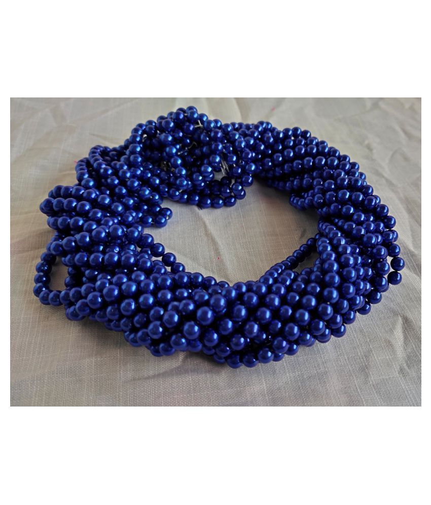 500pcs Round Color Beads for Jewellery Making & Embroidery (Royal Blue, 8mm)