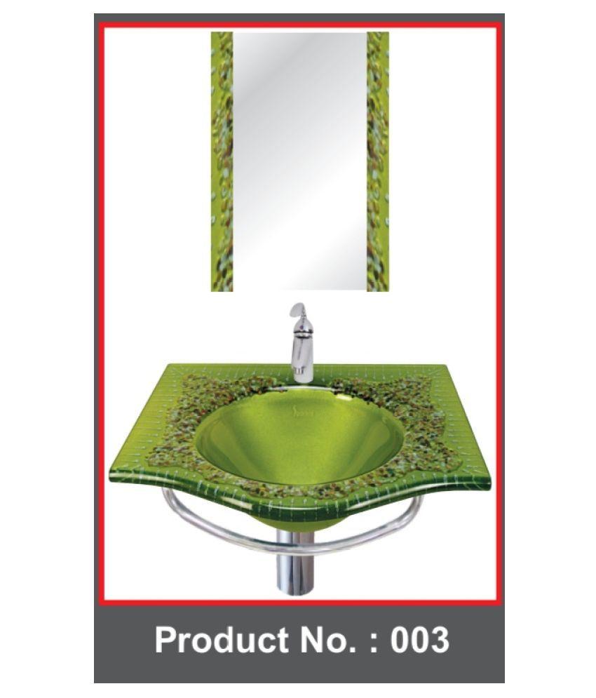 ARVND SANITARY Green Toughened Glass Wall Hung Wash Basins