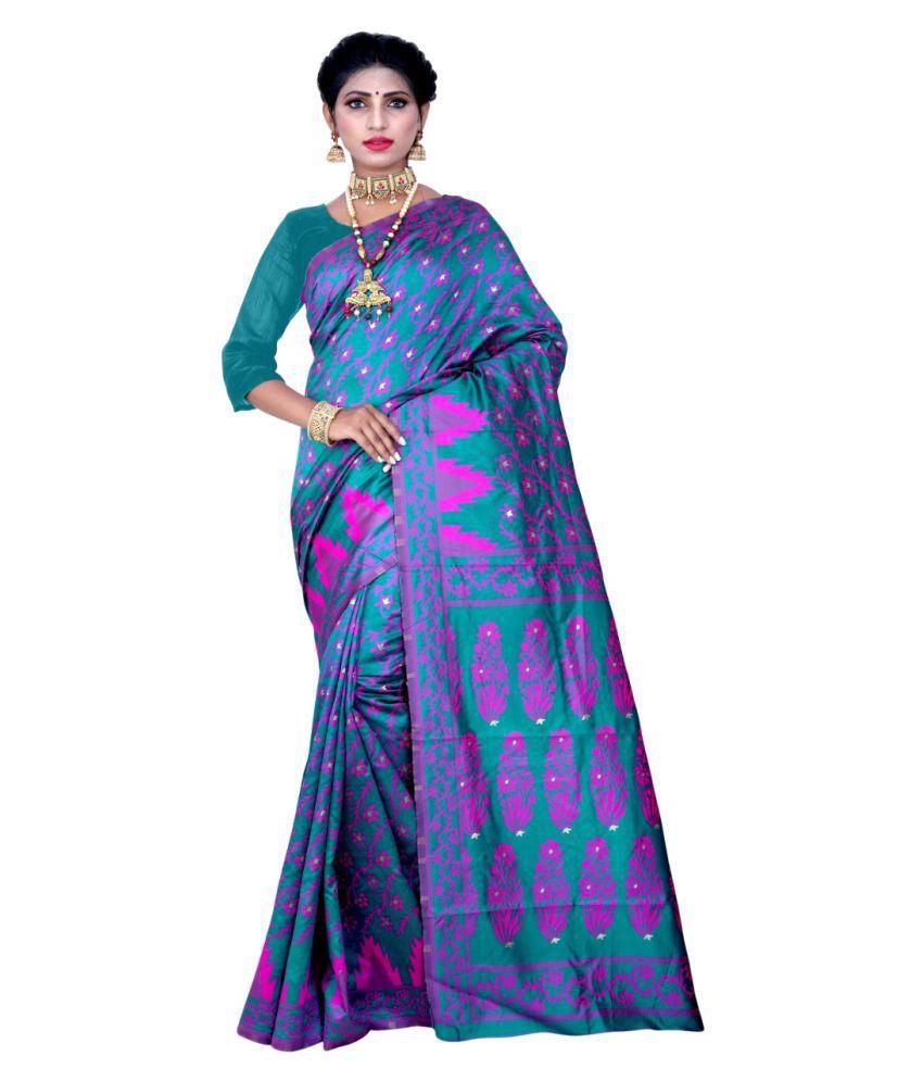 Women's (Rama & Pink) Pink Banarasi Silk Saree