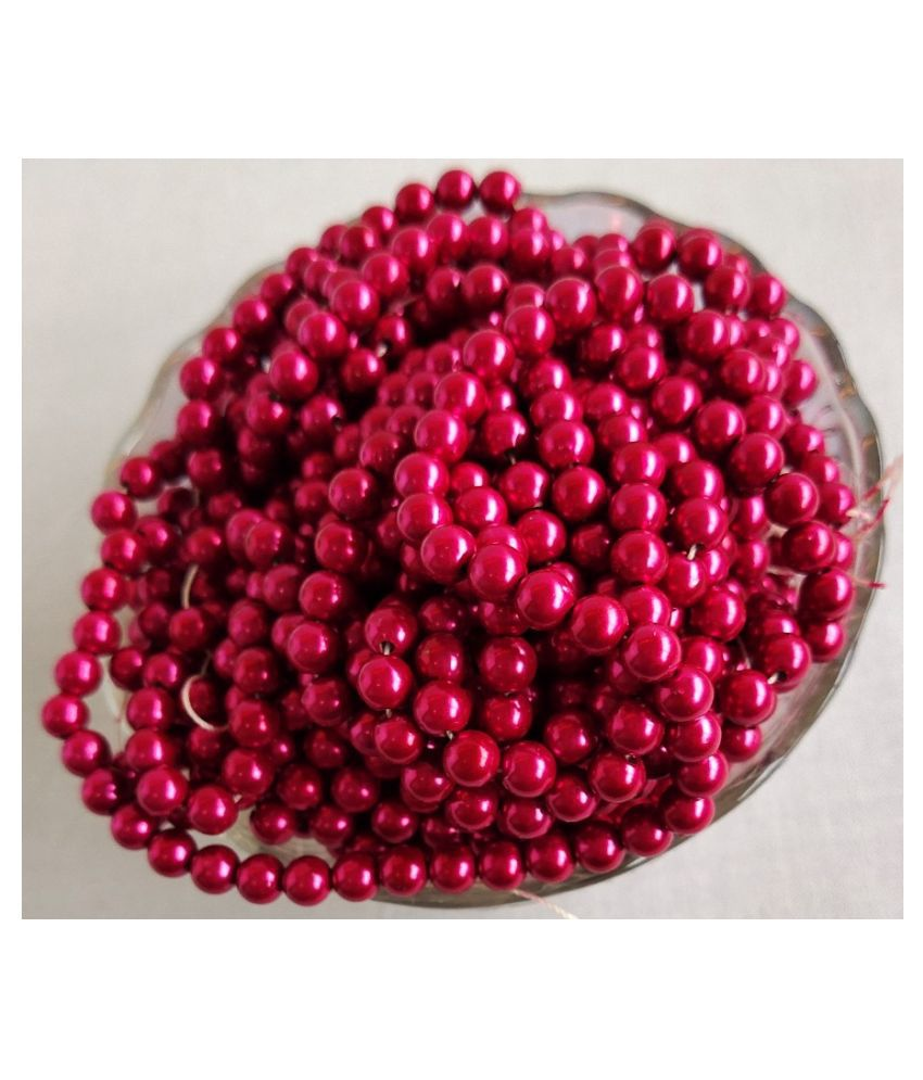 500pcs Round Color Beads for Jewellery Making & Embroidery (Beat Red, 4mm)