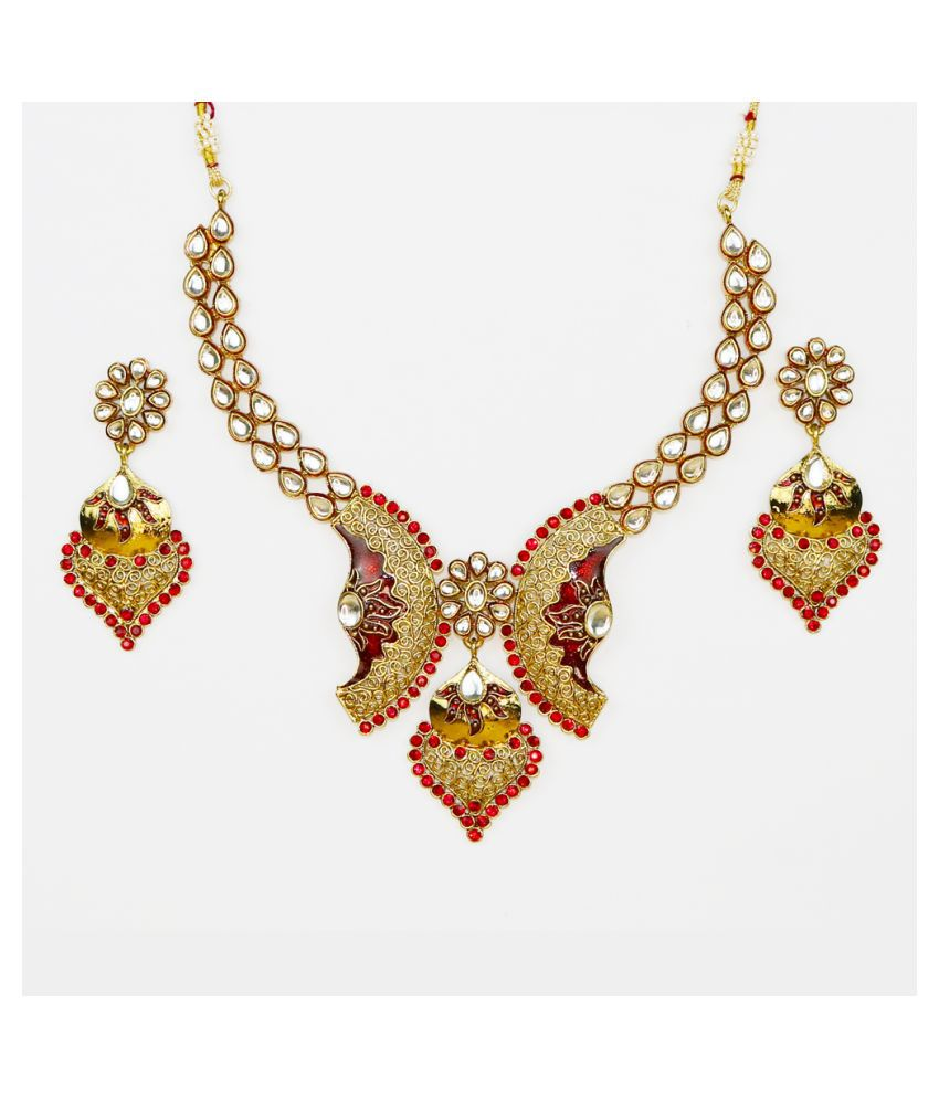 Abhiroopa Alloy Golden Collar Designer Gold Plated Necklaces Set