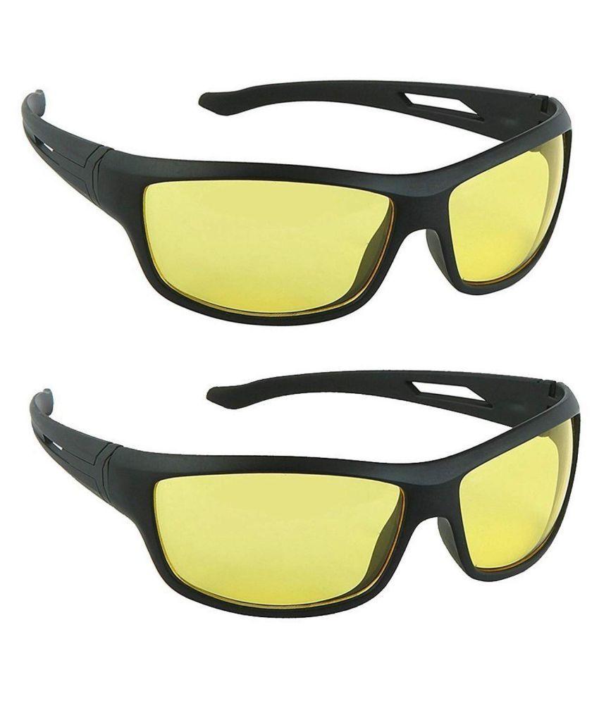 Anti Glare Sunglasses  Around Day  Night Driving ( Yellow ) Pack Of 2