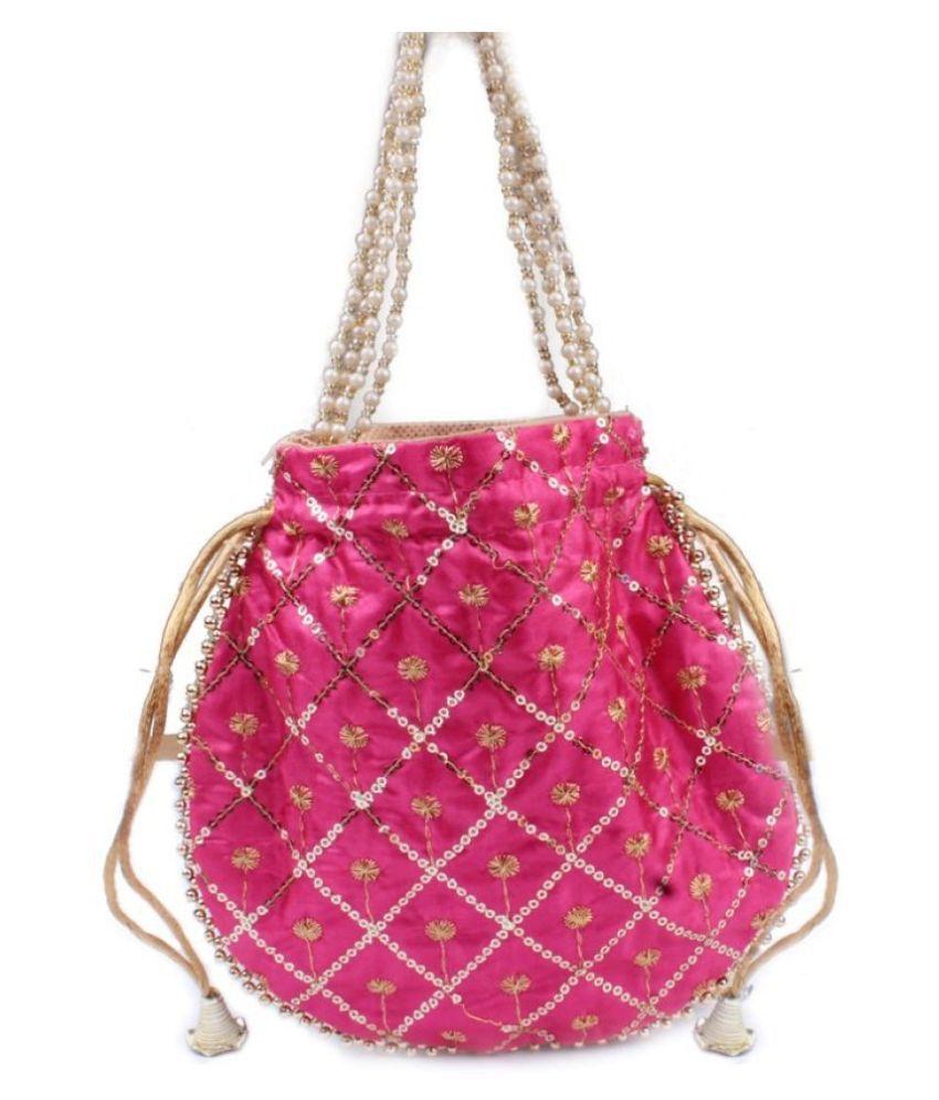 Fashion Art Pink Fabric Handheld