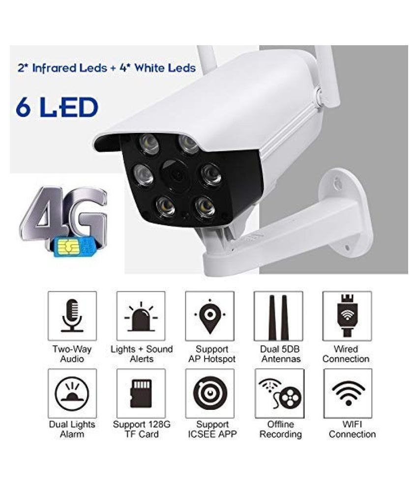 AUCTUS WIFI 4G SIM Card IP CCTV Security Camera Outdoor Full HD 2MP 1080P Night Vision 4 White LED Lights Surveillance Kit