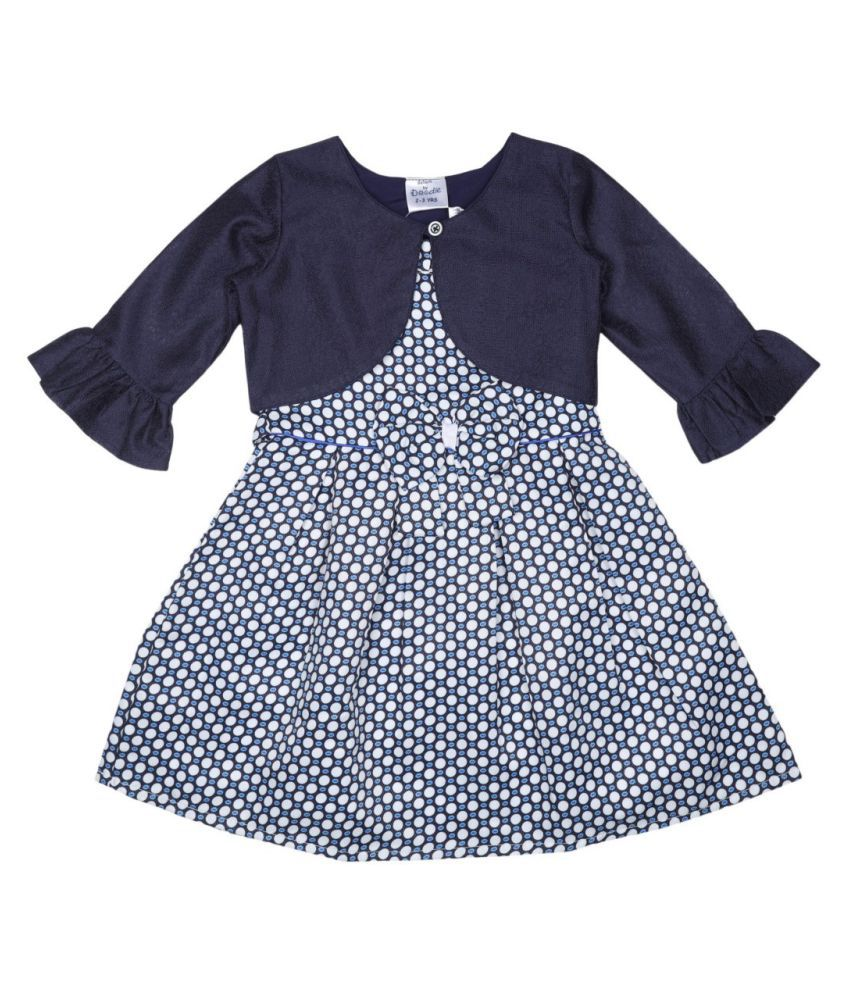 Doodle Polyester Material Navy Polka Dot Printed 3/4 SLEEVE Dress